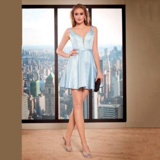 Vestido corto fiesta escote en V y falda campana Susanna Rivieri