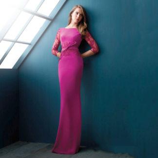 Vestido de fiesta largo con detalles de encaje Angela Ariza