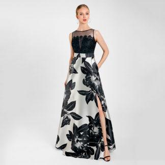 Vestido fiesta canesu de guipur falda cruzada Maria Lago