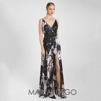 Vestido largo de fiesta en satén con maxiflores Maria Lago