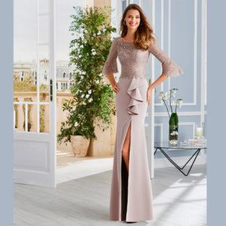 Vestido largo de satén con cuerpo bordado Couture Club
