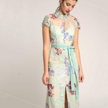 Vestido largo de tul bordado multicolor Alba Conde