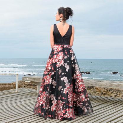 Vestido largo fiesta falda volumen brocada agnes and marie couture