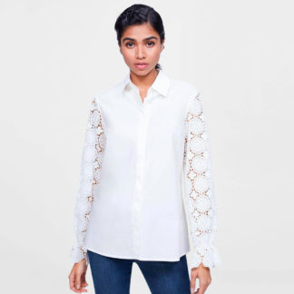 Camisa blanca mangas de guipur Javier Simorra