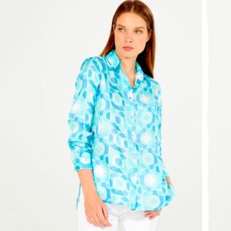 Camisa de seda estampado geométrico Vilagallo