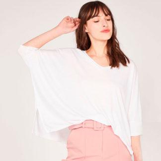 Camiseta manga poncho blanca de pico algodon organico Absolut Cashmere