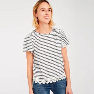 Camiseta marinera con encaje Naf Naf
