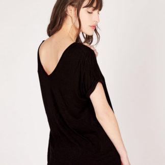 Camiseta marino escote de pico trasero en lino reciclado absolut cashmere