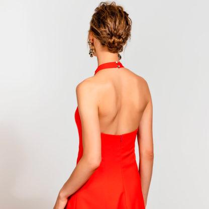 Vestido rojo fiesta cuello halter Access