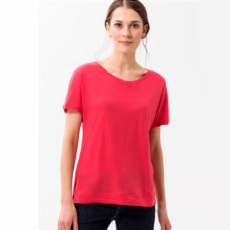 Camiseta con pliegues en vivo vuello y mangas