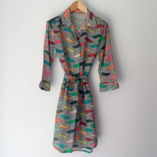 Vestido camisero de algodon print geometrico Vilagallo