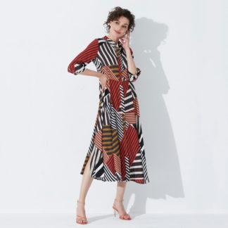 Vestido camisero midi multicolor