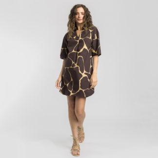 Vestido estampado marron Alba Conde