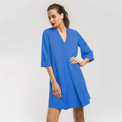 Vestido recto liso de crepe Alba Conde