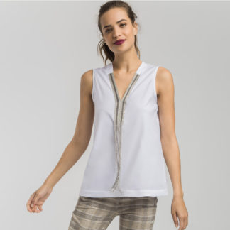 Blusa blanca con flecos Alba Conde