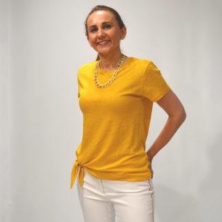 Camiseta en punto de lino mostaza anudada la Fee Maraboutee