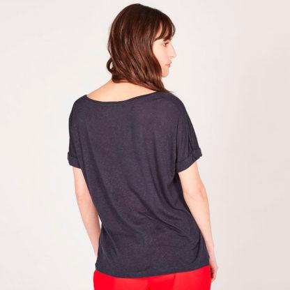 Camiseta negra manga japonesa lino reciclado Absolut Cashmere