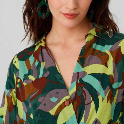 Vestido camisero estampado selva Nice Things