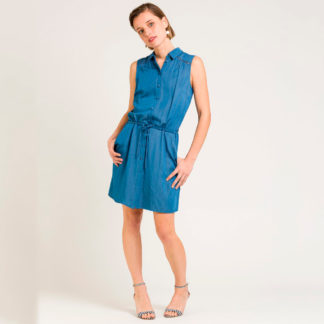 Vestido corto tejido denim detalles troquelados Naf Naf