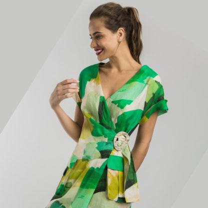 Vestido cruzado estampado verdes Alba Conde