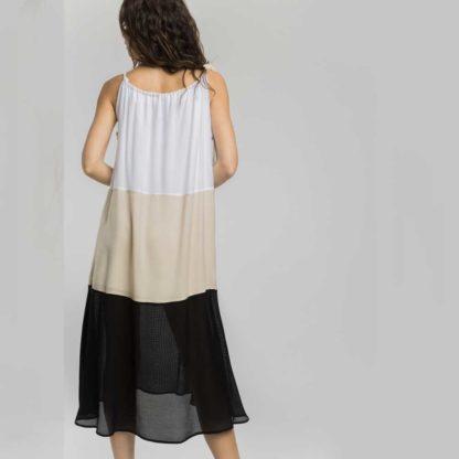 Vestido largo fluido tricolor Alba Conde