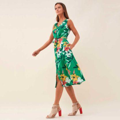 Vestido midi abotonado con estampado floral Salsa Jeans
