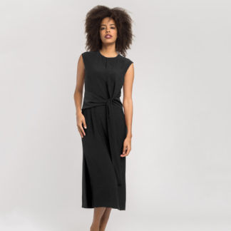 Vestido midi negro con lazada AC