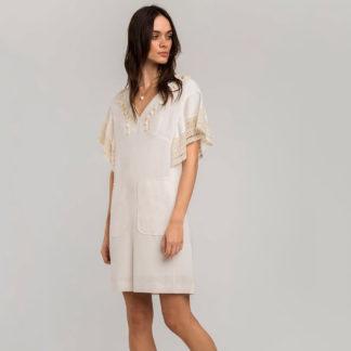 Vestido recto de lino caracolas Alba Conde