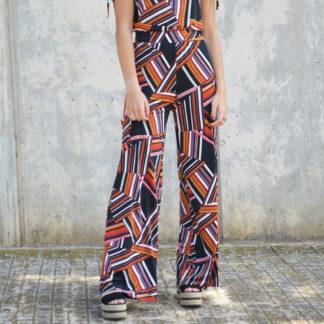 Pantalon palazzo punto de seda estampado Mdm