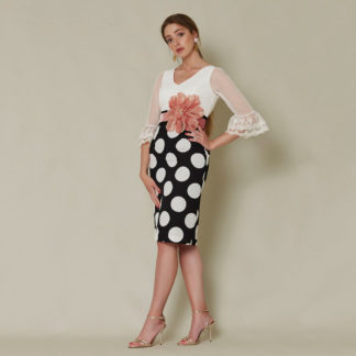 Vestido corto de fiesta lunares Sara Ruiz