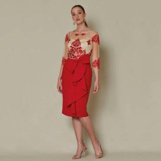 Vestido corto de fiesta de Sara Ruiz con falda con chorera