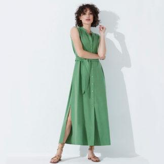 Vestido largo camisero en tecel verde Fox's