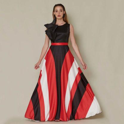 Vestido largo de fiesta Sara Ruiz con falda psicodelia