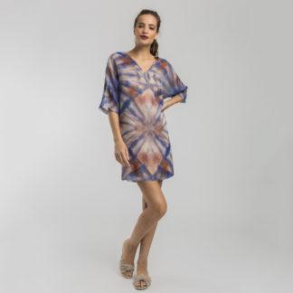 Vestido recto escote de pico print abstracto Alba Conde