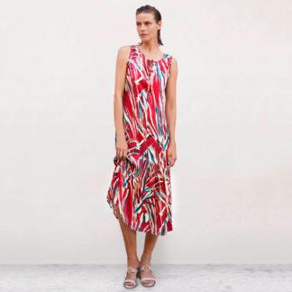 Vestido largo con print multicolor