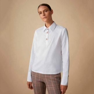 Camisa blanca cuello polo Javier Simorra