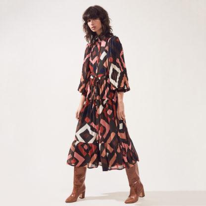 Vestido manga plisada retro SUNCOO