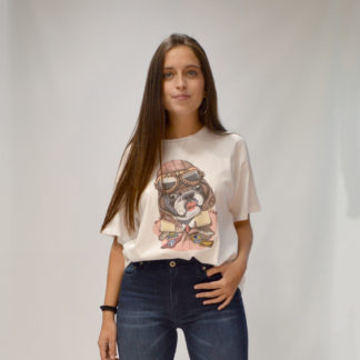 Camiseta blanca oversize print bulldog Please