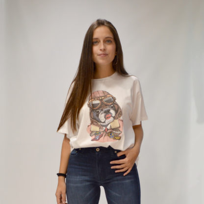 Camiseta blanca oversize print bulldog Please