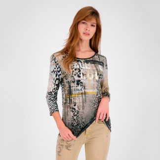 Camiseta manga tres cuartos print lacado Monari