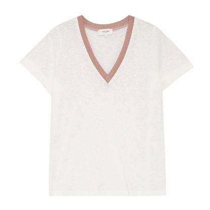 Camiseta de pico con banda lurex