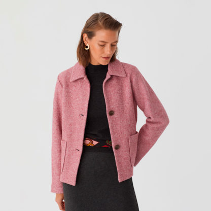 Chaqueta lana cocida rosa claro Nice Things