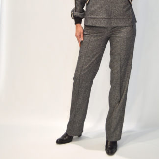 Pantalón recto de vestir en cheviot gris Alba Conde
