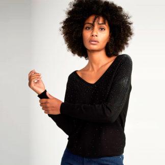 Jersey de pico negro con strass Naf Naf