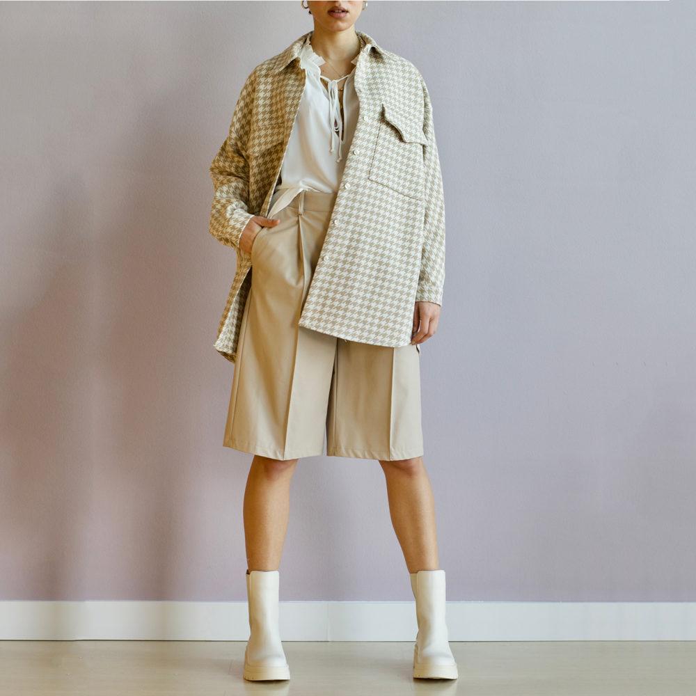 Camisa oversize de pata de gallo con flecos Imperial Fashion