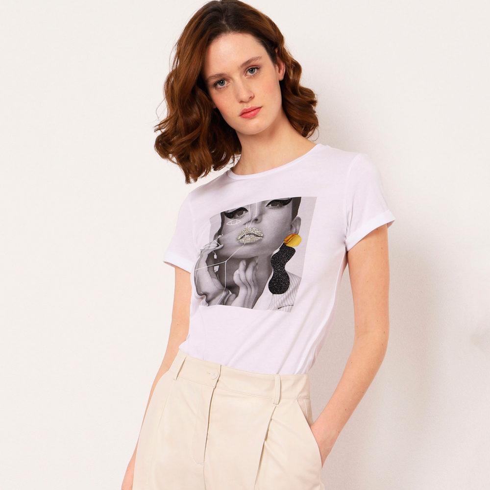 Camiseta con estampado y detalles de glitter Imperial Fasion