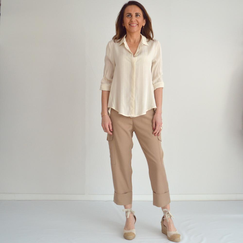 Camisa evasé marfil bajo asimétrico imperial fashion en gus gus boutique