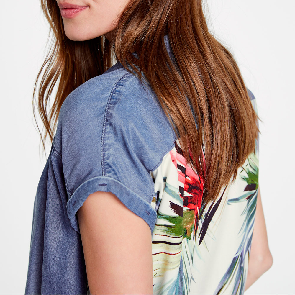 Camisa denim con espalda estampada Taifun en gus gus boutique