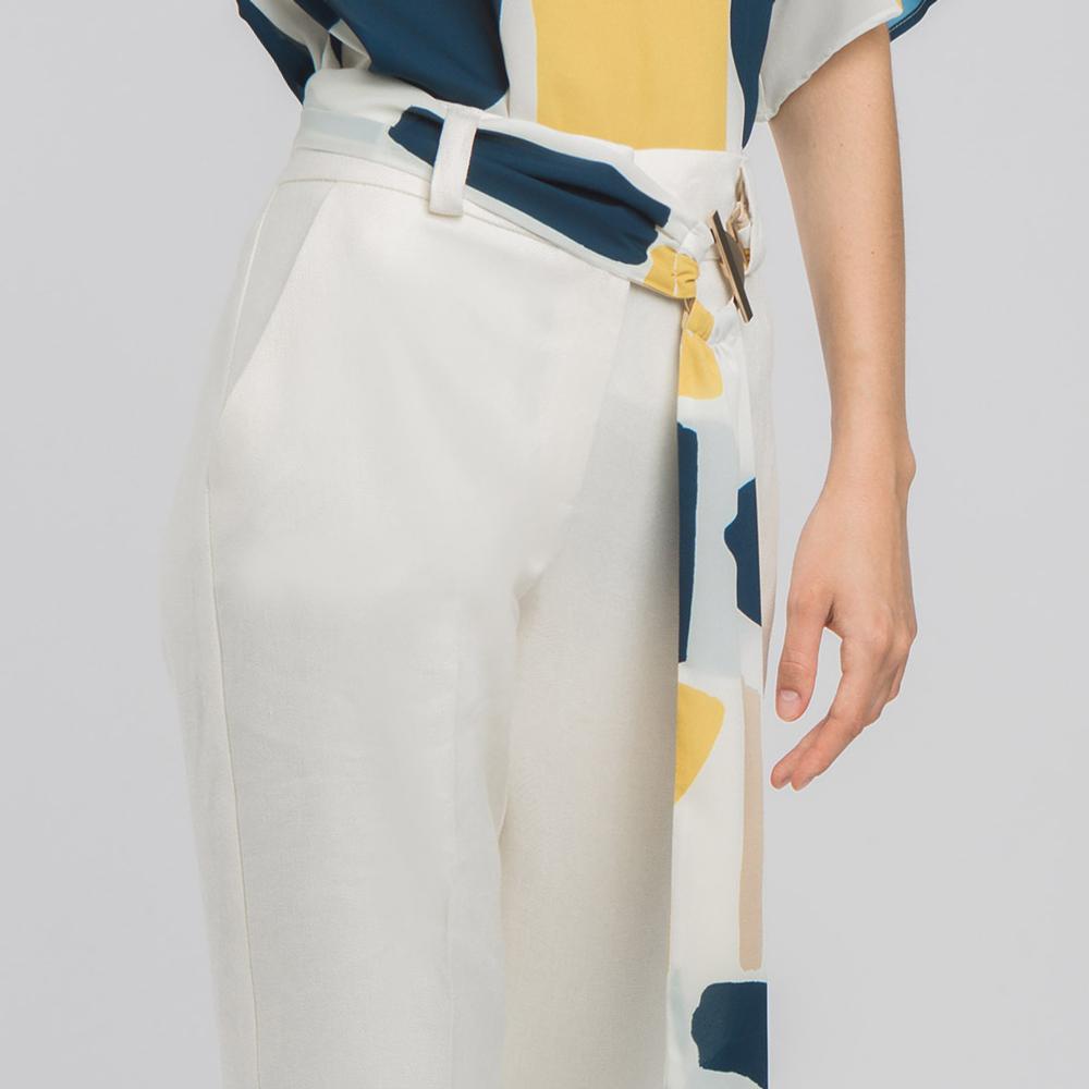 Pantalón recto con cinturón estampado alba conde en gus gus boutique