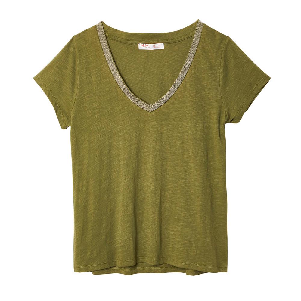 Camiseta escote de pico con vivo plata Md'm en gus gus boutique